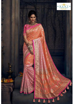 Gorgeous Peach Silk Saree with Pink Blouse