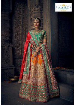 Magnificient Multicolor color Silk Designer Lehenga