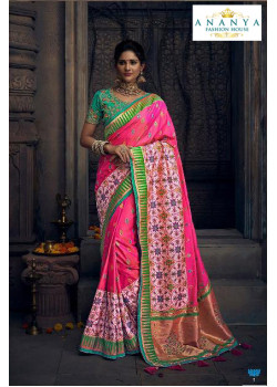 Melodic Pink Silk Saree with Sea Green Blouse