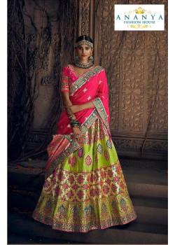 Plushy Green color Silk Designer Lehenga
