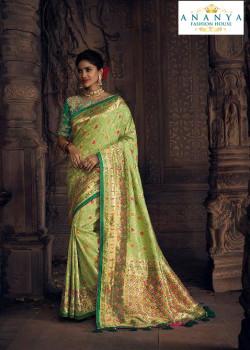 Plushy Pista Green Silk Saree with Green Blouse