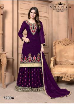 Adorable Purple Faux Georgette Salwar kameez