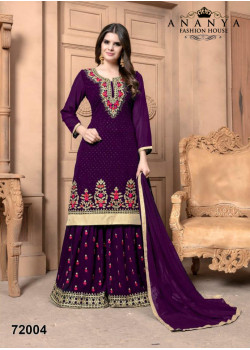 Adorable Purple Faux Georgette Salwar kameez