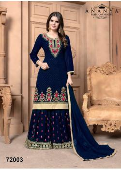 Classic Dark Blue Faux Georgette Salwar kameez