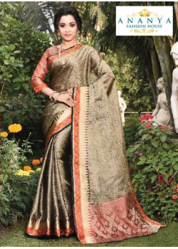 Classic Gold Silk Saree with Rust Blouse