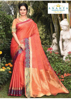 Adorable Orange Silk Saree with Orange Blouse