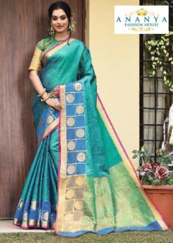 Luscious Light Blue Silk Saree with Multicolor Blouse