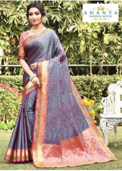 Trendy Multicolor Silk Saree with Pink Blouse
