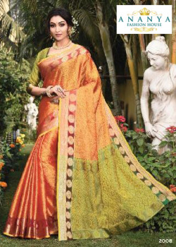 Dazzling Orange Silk Saree with Green Blouse