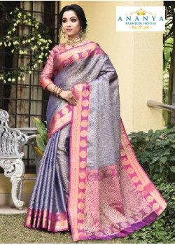 Charming Multicolor Silk Saree with Pink Blouse