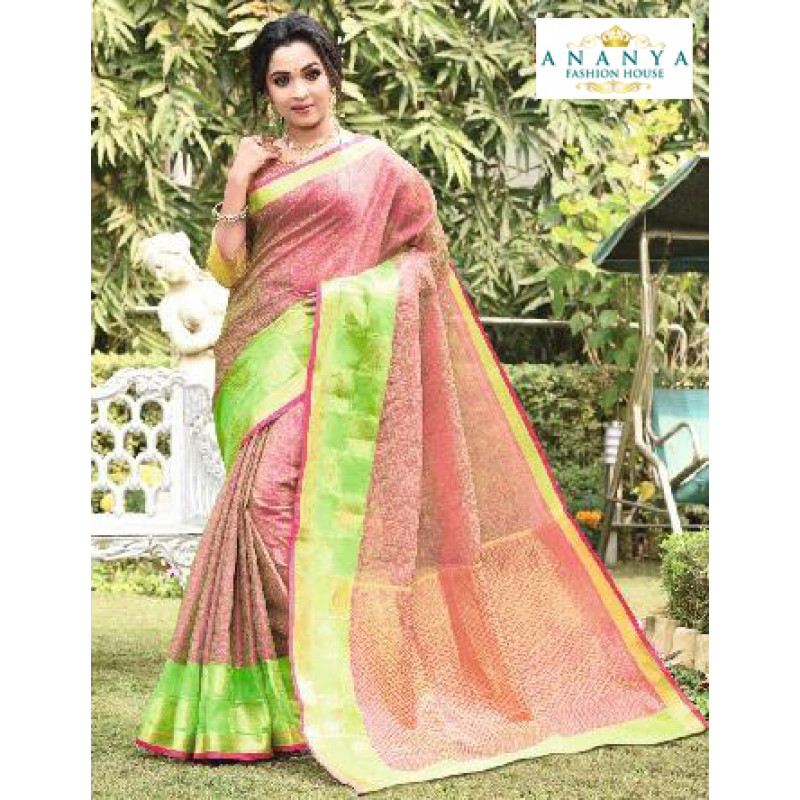 Flamboyant Multicolor Silk Saree with Pink Blouse