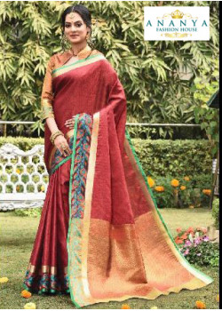 Melodic Rust Silk Saree with Orange Blouse