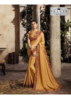 Plushy Yellow Silk Saree with Yellow Blouse