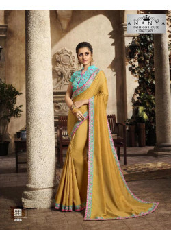 Luscious Mustard Silk Saree with Light Blue Blouse