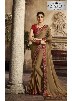 Melodic Light Brown Silk Saree with Maroon Blouse