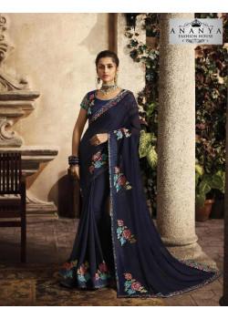 Exotic Dark Blue Silk Saree with Dark Blue Blouse