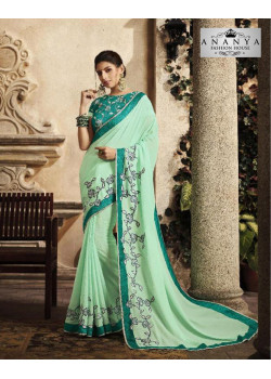 Magnificient Light Blue Silk Saree with Blue Blouse