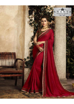 Enigmatic Maroon Silk Saree with Olive Green Blouse
