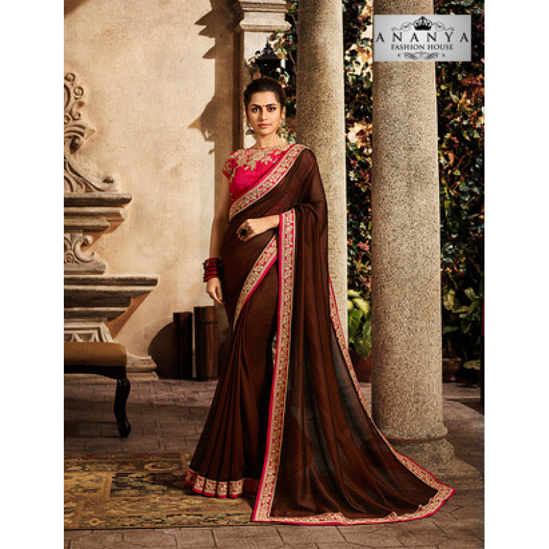 Adorable Brown Silk Saree with Pink Blouse