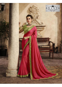 Charming Pink Silk Saree with Green Blouse