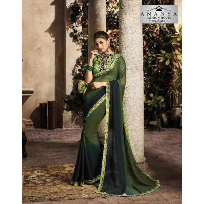 Classic Bottle Green Silk Saree with Green Blouse