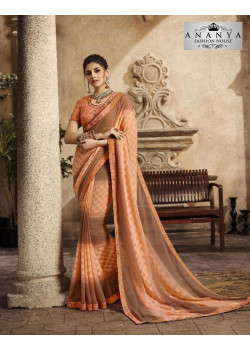 Dazzling Peach Silk Saree with Peach Blouse