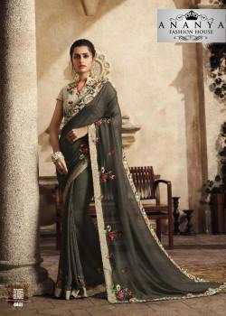 Divine Grey Silk Saree with White Blouse