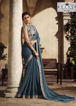 Flamboyant Blue Silk Saree with Grey Blouse