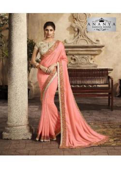 Gorgeous Pink Silk Saree with White Blouse