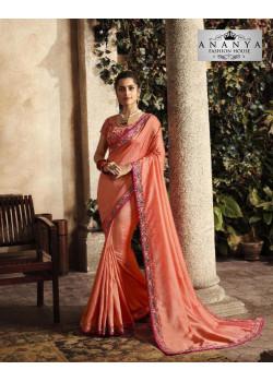 Incredible Peach Silk Saree with Peach Blouse