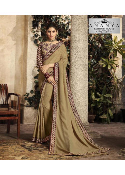 Plushy Beige   Silk Saree with Beige   Blouse