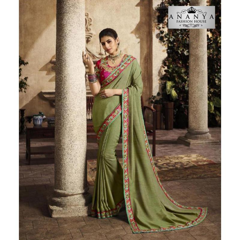 Trendy Pista Green Silk Saree with Magenta Blouse