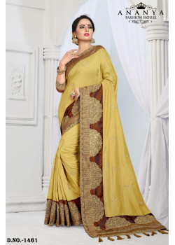 Melodic Yellow Silk Saree with Brown Blouse