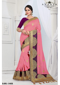 Classic Pink Silk Saree with Violet Blouse