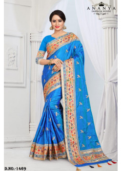 Dazzling Blue Silk Saree with Blue Blouse