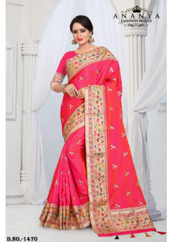 Divine Red Silk Saree with Red Blouse