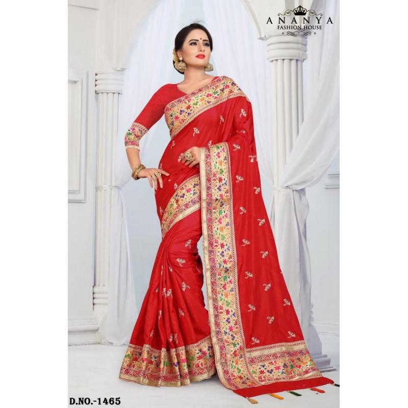 Luscious Magenta Silk Saree with Magenta Blouse