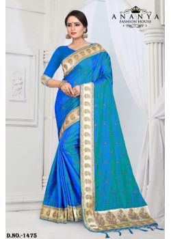 Plushy Blue Silk Saree with Blue Blouse