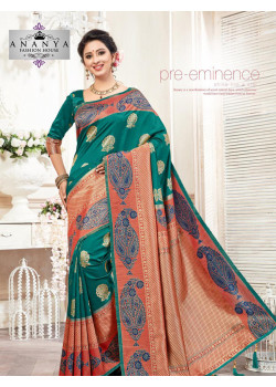 Incredible Turquiose- Peach Silk Saree with Turquiose Blouse