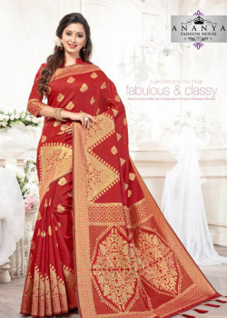 Adorable Red Silk Saree with Red Blouse