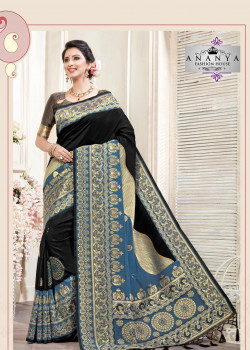 Enigmatic Black- Blue Silk Saree with Grey Blouse