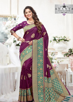 Magnificient Violet- Green Silk Saree with Violet Blouse