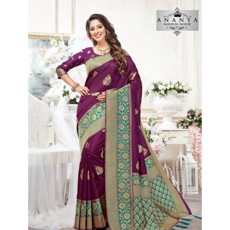 Magnificient Violet- Green Silk Saree with Violet Blouse