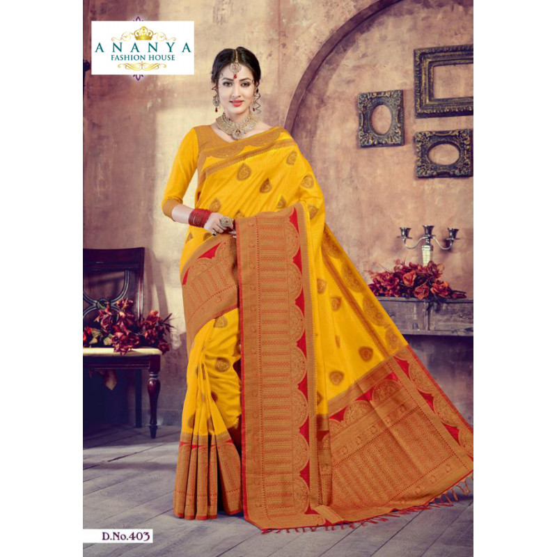 Trendy Yellow- Red Silk Saree with Yellow Blouse