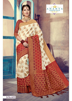 Charming White- Red Silk Saree with Red Blouse