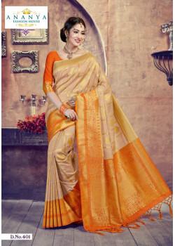 Flamboyant Beige- Orange Silk Saree with Orange Blouse