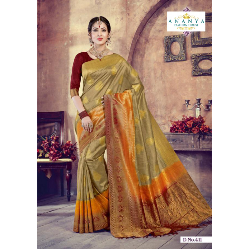 Gorgeous Multicolor Silk Saree with Maroon Blouse