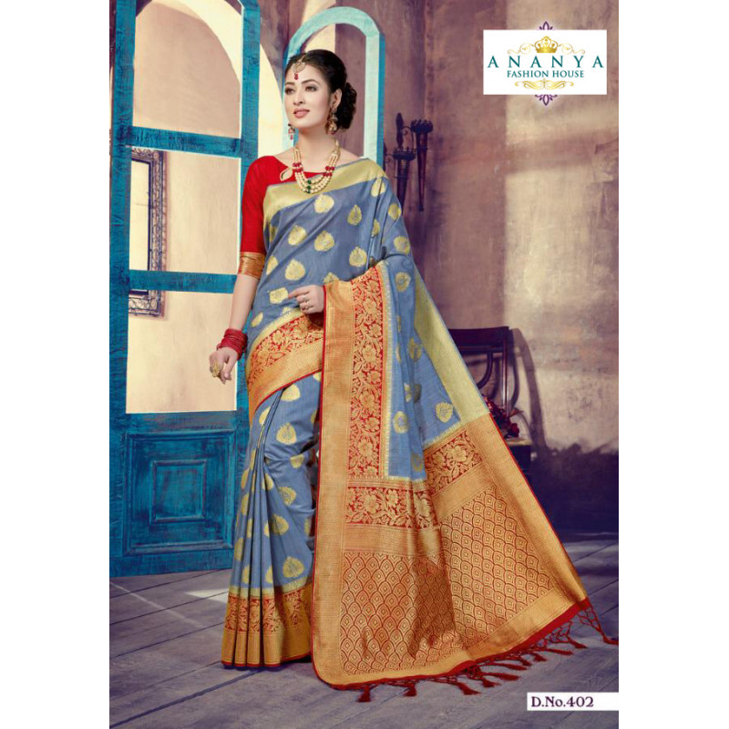 Luscious Multicolor Silk Saree with Red Blouse