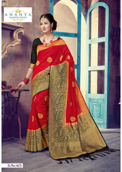 Magnificient Red- Black Silk Saree with Black Blouse