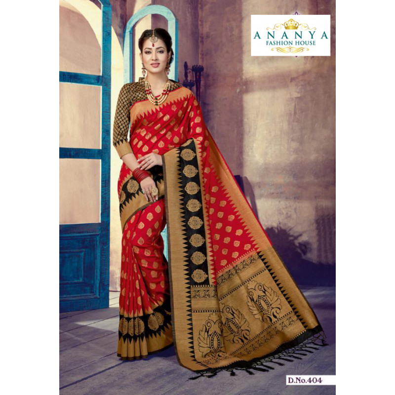 Melodic Red- Black Silk Saree with Black Blouse